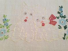 Vintage Hand Embroidered Linen Table Runner with Two  White Yorkies by Finderie on Etsy, $13.00