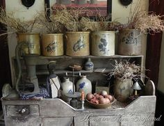 Beautiful blue decorated crocks and dry sink
