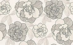 Flower (2221-14) - Albany Wallpapers - Large hand drawn textured effect flower in grey, outlined in black on a warm white background Please request a sample for true colour match and effect.Water closet