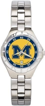 Michigan Wolverines Womens Pro Ii Bracelet Watch by Logo Art. $94.95. Packaged in an attractive black tin with flocked insert.. Powered by a precision Miyota three hand quartz movement with date function.. Two-year limited warranty.. Water resistant.. Show your Michigan Wolverines loyalty by wearing the sporty Pro II watch by LogoArt®. The Pro II features the Michigan Wolverines logo prominently centered on the colorful dial with coordinating dial ring.. Save 21%!