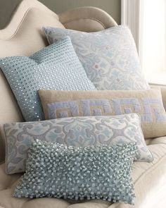 ShopStyle: Dransfield & Ross Pillow Collection in placid blue, gray and cream.