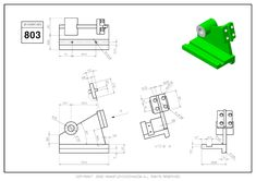 3D CAD EXERCISES 803 - STUDYCADCAM Mechanical Engineering Design, Mechanical Design, Cad Programs, Isometric Drawing, 3d Drawings, Character Sheet, Drawing Practice, 3d Modeling, Technical Drawing
