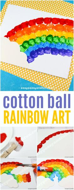 Cotton Ball Rainbow Art – Easy Peasy and Fun Cotton Ball Rainbow Art – Easy Peasy and Fun,St. Patricks Day Cotton Ball Rainbow Art – Easy Peasy and Fun Related Mediterranean Diet Breakfast. Rainbow Crafts Preschool, Rainbow Activities, Kindergarten Art Projects, In Kindergarten, Art Activities, Weather Activities For Kids, Toddler Art Projects, Toddler Crafts, Projects For Kids