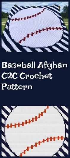 This Baseball Afghan with stripes is perfect for yourself or the baseball fan in your life! The stripes background make it look difficult but because this after is worked corner to corner they are very easy to do! PIN this + click through to see more! Baby Boy Crochet Blanket, Baby Boy Blankets, Knitted Afghans, Crochet Blankets, Baseball Baby Blanket, Afghan Crochet Patterns, Knit Patterns, Black And White Words, Corner To Corner Crochet