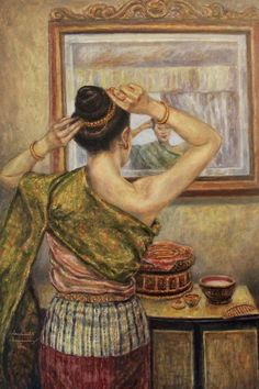 Painting - Gold Ornaments by Sompaseuth Chounlamany , Laos Culture, I Love Mirrors, Filipino Fashion, Thailand Art, Thai Art, Back Art, Gold Ornaments, Stamp Collecting, Concept Art