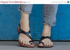 Sale 20% OFF Black Leather Sandals Asymmetric Sandals by BangiShop