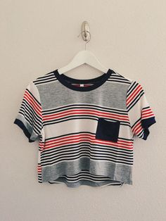 Short sleeve round neck multi-stripe with front pocket top