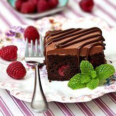 Raspberry Truffle Brownies - moist chocolate brownies studded with sweet and tart raspberries.