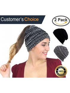 8fbf4d02d69 Cupid BeanieTail Soft Stretch Cable Knit- Messy High Bun Ponytail Beanie  Headband - Black - White - CJ189XHRO0D