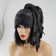 Felted Hat ETHNO BEAUTY Art Hat Gray Wild hat hats Felt by filcant, $159.00