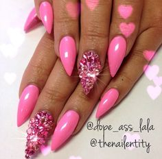 Pink jeweled stiletto nails. Follow @dopeasslala on Instagram http://instagram.com/p/fabG9sFGt1/