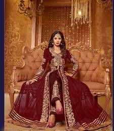 Buy Maroon embroidered net semi-stitched salwar with dupatta anarkali-salwar-kameez online