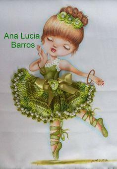 Kids Patterns, Doily Patterns, Crochet Patterns, Ribbon Embroidery, Embroidery Stitches, Embroidery Designs, Crochet Bunny, Crochet Dolls, Little Ballerina