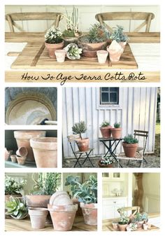 Wie man Terrakottatöpfe {DIY} (Little Farmstead) altert Herb Planters, Garden Pots, Large Terracotta Pots, Large Flower Pots, Diy Holiday Gifts, Painted Pots, Clay Pots, Farmhouse Style, Crafts