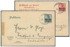 German Colonies, DP-Marokko 1900, 5 C. -und 10 C.-GA-Frageteil, beide aus einer Korrespondenz von Tanger nach Frankfurt/Preungesheim, Falz am linken Rand (Mi.-Nr.P 11 F, 12 F/Mi.EUR 125,--). Price Estimate (8/2016): 20 EUR.