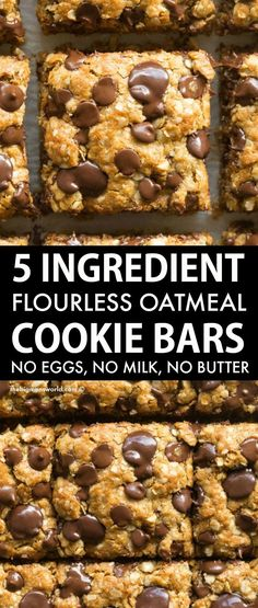 Flourless Vegan Gluten-Free Oatmeal Cookie Bars made with just 5 ingredients! Soft, chewy and gooey in one, they require just one bowl and 12 minutes to make! No butter, no oil, and no eggs! Gluten Free Sweets, Vegan Sweets, Gluten Free Baking, Healthy Sweets, Dairy Free Recipes, Healthy Baking, Baking Recipes, Whole Food Recipes, Sweet Recipes