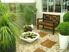 Elegance decorating home ideas with indoor plants beside wooden benches beside glass window living space Awesome Indoor Garden And Interior Plant Decoration Ideas easy indoor plants. Indoor Garden, Indoor Plants, Outdoor Gardens, Gravel Garden, Garden Plants, Small Garden Design, Outdoor Furniture Sets, Outdoor Decor, Small Gardens