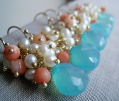 set of 4 Aqua blue and Coral Bridesmaid earrings by thejewelrybar, $140.00