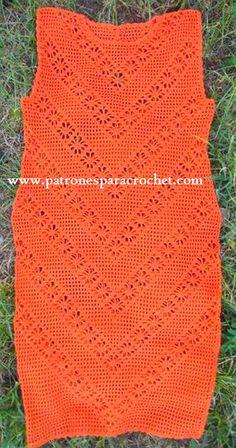 vestido crochet con filet y punto araña