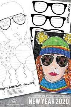 This is such a fun New Years 2020 art activity for older kids – ideal coloring pages for teachers to use in the classroom during. New Years Activities, Writing Activities, Classroom Activities, New Years Resolution Funny, Funny New Year, New Year Art, New Year 2020, January Art, Self Portrait Art
