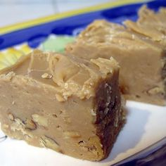 Thibeault's Table: Maple Cream Fudge - Made this Saturday using the optional recipe and minus the walnuts. Really, really good if you like fudge. Köstliche Desserts, Delicious Desserts, Dessert Recipes, Plated Desserts, Yummy Food, Fudge Recipes, Candy Recipes, Fudge Flavors, Xmas Recipes
