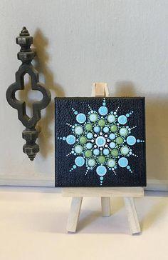 Aboriginal Style Mini Dot Art Painting 3 X 3 Canvas With Mini