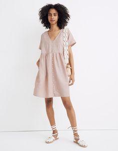 Petite Linen-Blend V-Neck Button-Front Mini Dress Mini Dresses For Women, Dress Clothes For Women, Mode Masculine, V Neck Dress, Dress Skirt, Olive Dress, Inspiration Mode, Character Inspiration, Fashion Inspiration