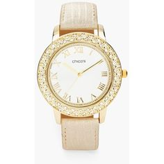 Chico's Penelope Watch ($59) ❤ liked on Polyvore featuring jewelry, watches, neutral, chicos jewelry, chicos watches, leather wrist watch, leather jewelry and leather watches