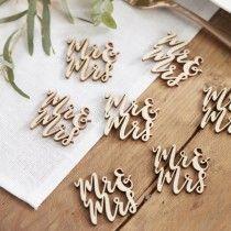 Mr & Mrs Wooden Table Confetti - Beautiful Botanics