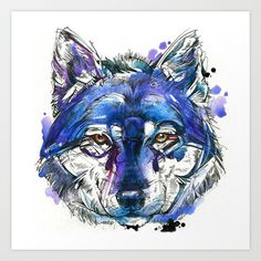 Indigo Wolf - New print for sale on Society6! #watercolor #illustration #wolf