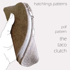 The T is for Taco Clutch - Felt or leather zip clutch purse PDF sewing pattern