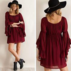 Just Showed UP! Ruffled Sleeve Empire Dress - Wine - $39.50