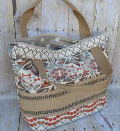 Diaper Bag / Tan, Orange, Charcoal grey / Burlap trim / Womens Shoulder Bag / slub cotton / Slouch / Messenger Strap  by Darby Mack