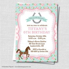 Sweet Shabby Chic Horse Birthday Party Invitation - Horsebackriding Themed Party - Digital Design or Printed Invitations - FREE SHIPPING on Etsy, $10.50
