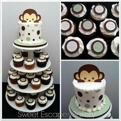 Mod Monkey Baby Shower cake & cupcakes Blue dots instead of green @Kathy Chan Chan Chan Chan Schenck