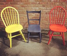Painted chairs in Autentico Brazilian Bird, Sailors Blue and Red Stripe Vintage Chalk Paint.