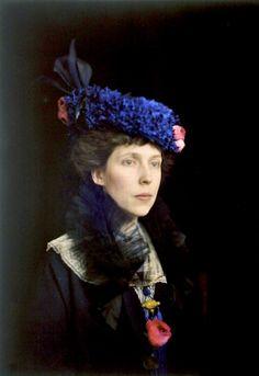Mrs. John B. Trevor, ca. 1914.  Taken by husband, John Trevor.  Autochrome photo