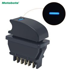 Motobots 1pc New Universal 5pins Car Power Window Switch 12v 24v 20a With Illumination Blue Led Light Blue Led Lights Led Lights Led