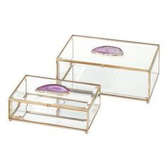 2 Piece Maison Glass and Agate Boxes Set