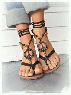 9c3ad42dfa2b PEACE sign BAREFOOT sandals Black and Gold Gypsy Sandals New Years Party  bottomless shoes Crochet Toe thongs Black sandal Garden wedding