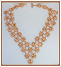 SALE - Was 99.00 - Beadweaving - Beadwork - Pearls in Peach Beadwoven Necklace - Seed Bead Jewelry