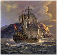 Pirate Art, Ship Paintings, Wood Boats, Wooden Ship, Nautical Art, Sea Art, Tall Ships, Battleship, Beautiful Artwork
