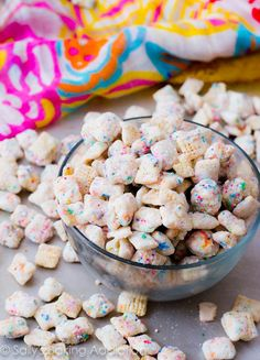 Cake Batter Puppy Chow! No bake, so easy! No cake mix needed.