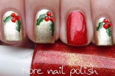 I would do the reverse of this... red nails, with one gold with the holly berries and leaves on it.