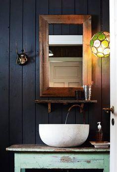 Cozy and Homey Norwegian Mountain Cottage.rustic/spa like Rustic Bathroom Vanities, Bathroom Interior, Modern Bathroom, Design Bathroom, Bathroom Ideas, Simple Bathroom, Rustic Bathrooms, Bathroom Renovations, Rustic Vanity