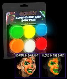 Glominex Glow Face & Body Paint Clamshell 6 Pack - Assorted $9.99 Glominex glow body paint is fun for everyone! This paint glows in the dark and looks like regular paint in daylight. Our glow body paint is non-toxic, water-based, and made in the USA. Our glow body paint is non-flammable, acid-free, and lotion-based paint Each Pack Contains a random assortment of Blue, Red, Green, Yellow, Purple, Red, White, and Orange Perfect for Halloween costumes or glow parties!
