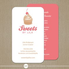 Baker or Pastry Chef Business Card / Calling by MalloryHopeDesign, $48.00 Bakery Business Cards, Square Business Cards, Cake Business, Business Card Design, Logo Patisserie, Cupcake Logo, Name Card Design, Bussiness Card, Candy Cards