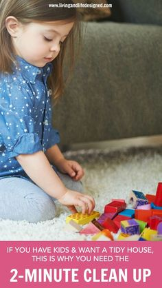 The 2-Minute Clean-Up is for families wanting a tidy home and makes clean-up fast, easy and pain-free. You can always have a clean and tidy home with this one simple clean-up trick and the help of your kids.