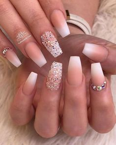 acrylic nails designs which are stunning nails nails nails nails for teens fall 2019 fall autumn fake nails nails natural Ombre Nail Designs, Acrylic Nail Designs, Nail Art Designs, Acrylic Nails With Design, Bride Nails, Prom Nails, Polygel Nails, Long Nails, Wedding Nails For Bride