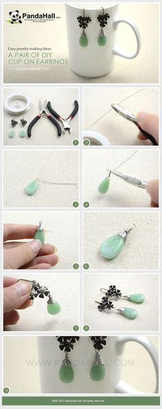 In today's jewelry making ideas I come up with the diy clip on earrings. With pair of well-designed brass earring hooks, pieces of natural Jade Beads and a section of brass wire, entire project will be done within less than 5 minutes.